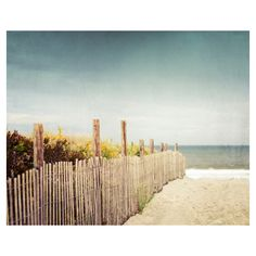 """Beach Photography - summer cottage blue brown beach photograph ocean shore seashore photo wall art - 8x10 Photograph, """"Down to the Sea"""" found on Polyvore"""