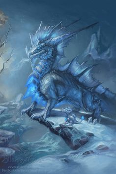 Winter dragon teaching its youngling. Dragon Art by Sixthleafclover Dragon Bleu, Ice Dragon, Dragon Art, Dragon Light, Snow Dragon, Dragon Names, Water Dragon, Magical Creatures, Fantasy Creatures