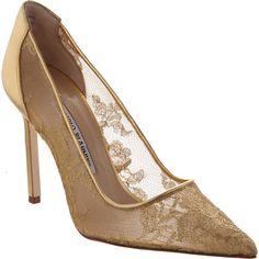 Manolo Blahnik Women's Lace BB Pumps ($279) ❤ liked on Polyvore featuring shoes, pumps, heels, manolo blahnik, gold, slip on shoes, high heels stilettos, pointy toe stiletto pumps, metallic pointed toe pumps and manolo blahnik pumps