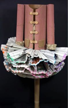 sculpture made from cardboard and newspaper #art #fashion #sculpture