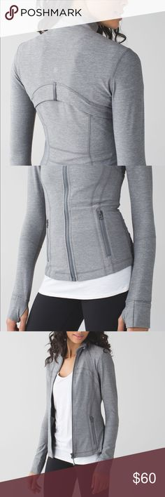 Lululemon Define Jacket Never worn! Great quality. Size 6. Thumb holes. Heathered gray. lululemon athletica Jackets & Coats