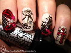 Goth Nail Designs | figured this would be the best time to use black shatter with bloody ...