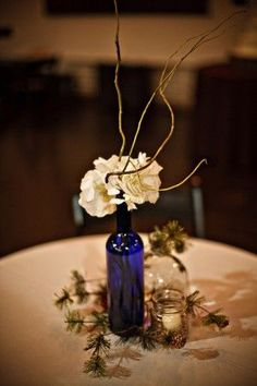 cobalt blue wine bottles wedding - Google Search