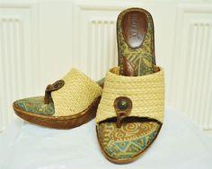 Born Tweet Wedge Thongs Sandals 9/40.5 Brown Green Ivory Cute Tiki Summer Dress #Brn #ThongWedges
