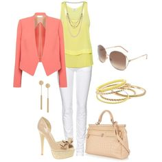 """""""Peach & Yellow"""" by verydefinitely on Polyvore"""