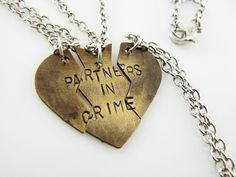 Heart Necklace Partners in Crime  hand stamped set by StampedWorld, $30.00