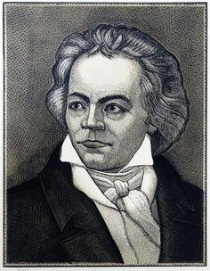 """Victor Shmokhin? """"   """"Людвиг ван Бетховен - немецкий композитор"""" 1986г. Бумага / линогравюра 37,7 х 29,7"""