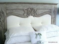 Creative Headboard that Imitates A Fireplace - this one has been upholstered where the fireplace opening used to be.