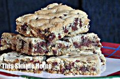 This Simple Home: Chocolate Chip Bar Cookie Recipe