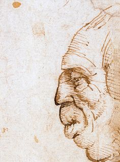 14. Two Grotesque Profiles Confronted, 1485, Pen and ink with wash