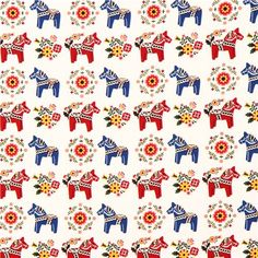 white Swedish Dala horses animal fabric by Cosmo from Japan website: modes4u.....tons of echino and other canvas fabrics