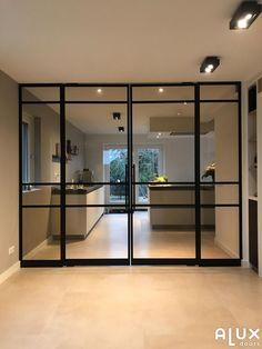 Pivot doors with side lights in Haalderen – Door Types Kitchen Sliding Doors, Diy Room Divider, Divider Ideas, Room Dividers, Pivot Doors, Steel Doors, Office Interior Design, Modern Room, Apartment Design