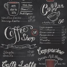 Blackboard Chalkboard Coffee Shop Wallpaper by Rasch 234602 Coffee Shop Menu, Coffee Shop Design, Cafeteria Retro, Chalkboard Wallpaper, Chalk Menu, Coffee Chalkboard, Cafe Black, Black And White Wallpaper, Black White