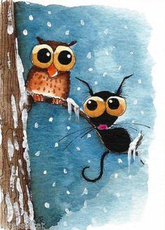 ACEO Original Watercolor Painting Whimsy Folk Art Cat Kitty Bird Owl Tree Snow | eBay