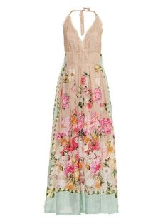 Emamò Floral and butterfly-print silk maxi dress