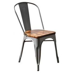 """Featuring a galvanized steel frame and weathered wood seat, this industrial-inspired side chair is a handsome addition to your dining room or breakfast nook ensemble.  Product: Set of 2 chairsConstruction Material: Galvanized steel and linenColor: Black Dimensions: 33"""" H x 17.5"""" W x 18"""" D"""