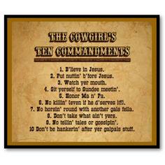 Cowgirl Commandments