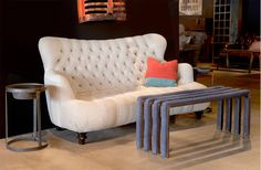 Calvin tufted sofa and padded coffee table
