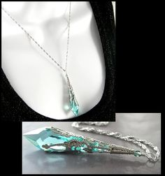 Antique Green Necklace Sterling Silver Teal Green Blue Swarovski Crystal Pendant Necklace Icicle