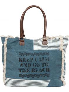 Grand sac cabas imprimé citation bleu | Lollipops