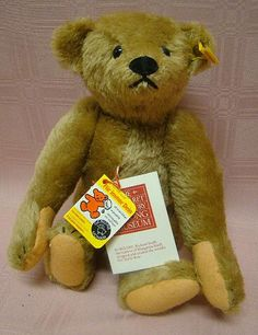"""Steiff Mohair Remake of the 1904 Original Teddy for Strong Museum 13"""" Stuffed Animal."""