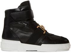Versace: Black Medusa High-Top Sneakers | SSENSE