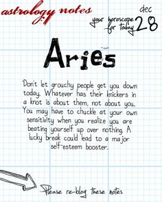 Aries Visit astrology notes for all today's horoscopes.Come see all the beautifully designed aries-only knowledge on the best all-free site for astrology and tarot. Astrology Today, Aries Astrology, Zodiac Signs Aries, Aries Horoscope, Pisces, Daily Horoscope, Aries Facts, Zodiac Facts, Taurus