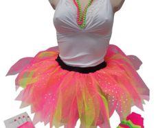 Neon Pink Tutu Skirt 80's Fancy Dress Leg by honeybselection