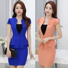 womens business skirt suits on sale at reasonable prices, buy 2016 Women skirt suits styles Business formal office ladies elegant short sleeve blazer with skirt plus size work wear from mobile site on Aliexpress Now! Blazer Fashion, Suit Fashion, Fashion Dresses, Skirt Outfits, Chic Outfits, Suits For Women, Clothes For Women, Work Clothes, Indian Fashion Trends