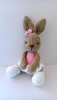 little cotton rabbits crocheted Bunny plush stuffed toy baby shower toys crocheted toys Easter Bunny Valentine's day Pink Bunny Crochet Baby Toys, Crochet Teddy, Cute Crochet, Crochet Dolls, Crochet Yarn, Crocheted Toys, Crochet Animals, Bunny Toys, Bunny Plush