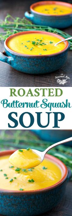 I am in love with this simple, healthy, and rustic Roasted Butternut Squash Soup! Soup Recipes | Easy Dinner Recipe | Healthy Dinner Recipes | Vegetarian Recipes #soup #dinner #butternutsquash