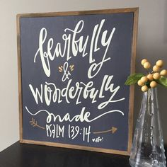 """This rustic dark grey box sign displays: Fearfully and Wonderfully Made (Psalm 139:14). The size is great for tabletop or wall. Description: 11 1/2""""w x 13""""h x 1 1/2""""d 