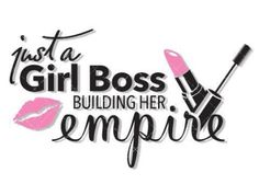 "Just a Girl Boss Building Her empire Measures ""4.8H x 8""W $13Cad plus shipping All black is cut in white with bubblegum pink Younique Decal Designs Original Designs by Vinylglyphics"