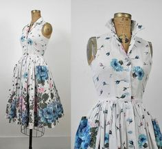 1950s Floral Dress / 50s Cotton Sundress by FemaleHysteria on Etsy, $125.00