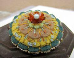 Felt Flower Brooch, One of a kind brooch, Wool Felt Brooch,  Flower Pin, by Skippingstones FREE US SHIPPING