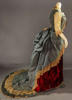 Evening Dress (image 2) | 1880s | silk faille, velvet, lace | Augusta Auctions | May 11, 2016/Lot 2140