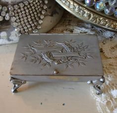 $235.00 French Laurel Wreath Antique Silver Jewel Box-