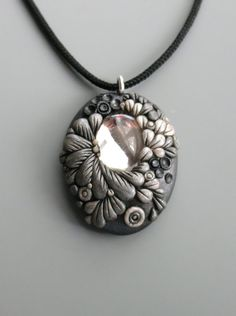 Pendant Necklace Polymer Clay, Pearl and Antique Silver with Vintage Crystal Cabochon More