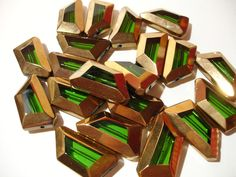 6 Green Gold-Edge Trapezoid Glass Beads. Starting at $4 on Tophatter.com!