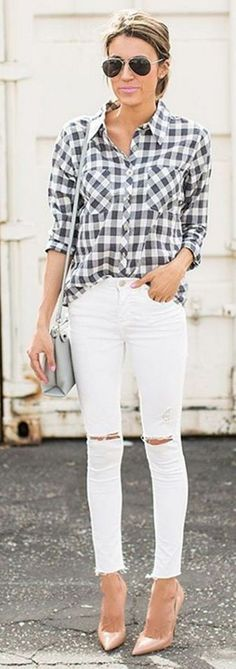 #bestof #instagram #turninghead #spring #outfitideas | BW Check Shirt + Ripped denim + Nude Pumps | Hello Fashion Source