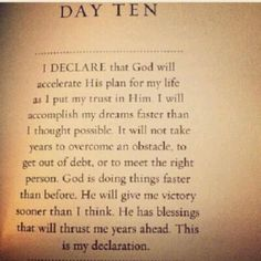 I declare God will acclerate his plan