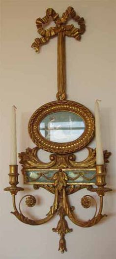 19th century French giltwood wall sconces with painted watercolor plaques