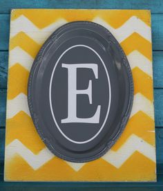 Yellow and Gray Chevron Monogram Home Decor.  by RoxieFlair, $46.00