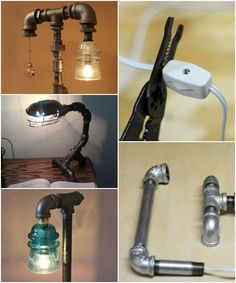 Anything and everything DIY: Nice Industrial Pipe Desk Lamp Design Tutorial Table & Desk Lamps A Nat Industrial Pipe Desk, Industrial Furniture, Industrial Lighting, Industrial Closet, Industrial Cafe, Industrial Windows, White Industrial, Industrial Apartment, Industrial Bathroom