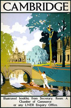 Cambridge vintage travel poster repro