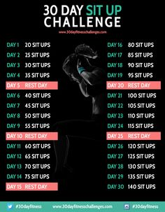 30 Day Sit Up Challenge Fitness Workout Chart