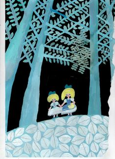 girls in forest - illustration by mizuki goto