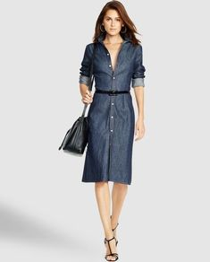 Polo Ralph Lauren Denim Button-Down Shirtdress - Polo Ralph Lauren Mid Length Dresses - Ralph Lauren France Long Denim Shirt Dress, White Denim Dress, White Flare Dress, Button Down Shirt Dress, White Long Sleeve Dress, Denim Button Down, Jeans Dress, Dress Long, Dress Shirt