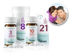 Immun-Aufbau-Kur von Pflüger. Schüssler Salze - Biochemie Pflüger® Nr. 3 Ferrum phosphoricum D 12, Nr. 8 Natrium chloratum D 6, Nr. 10 Natrium sulfuricum D 6, Nr. 21 Zincum chloratum D 6