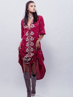 Women Bohemian Red Long Dress Summer Autumn Loose Deep V-Neck Sexy Retro White Cotton Boho Dresses